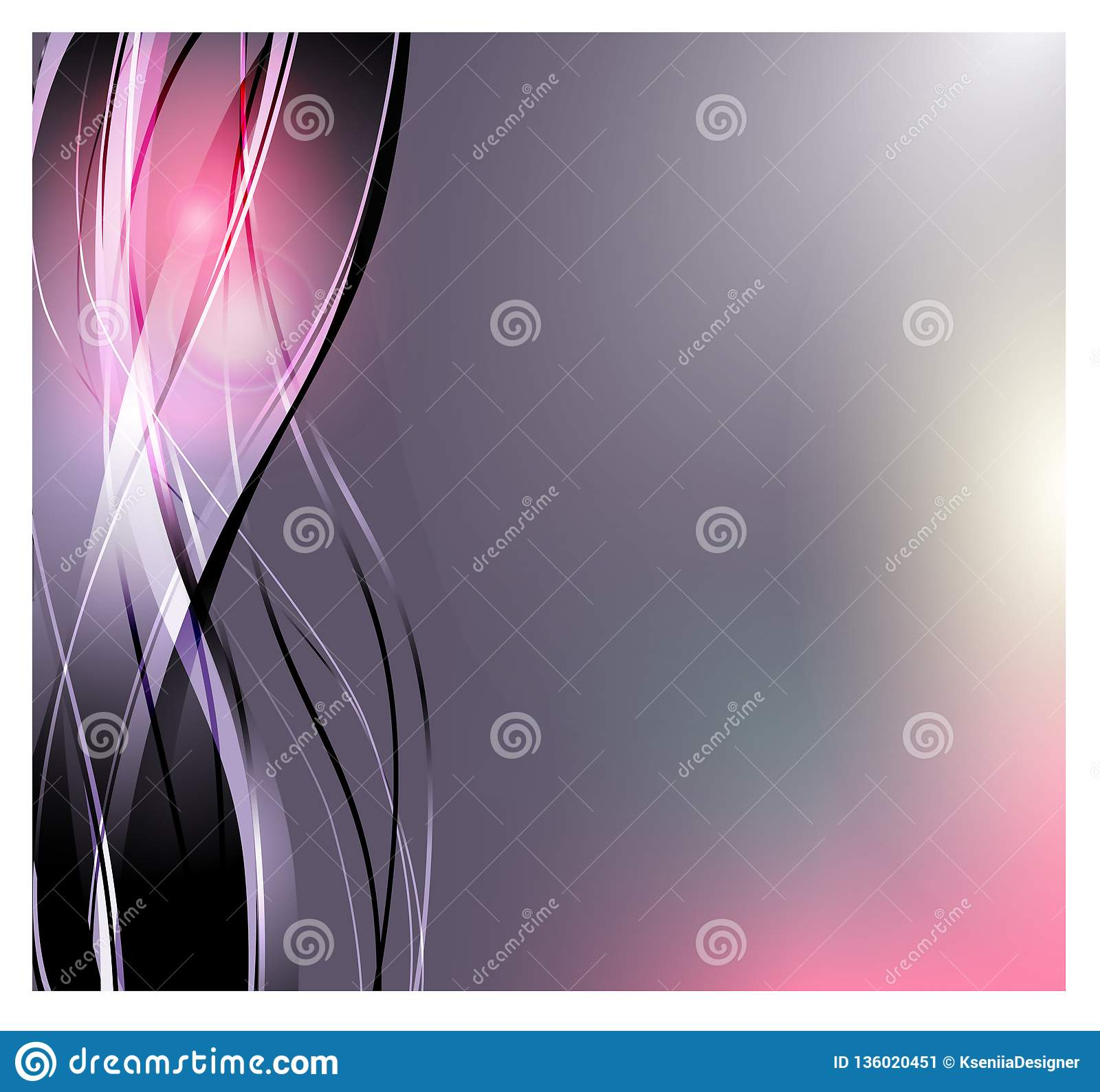 Abstract vector background. Bright curved waves for advertising. Glowing lines