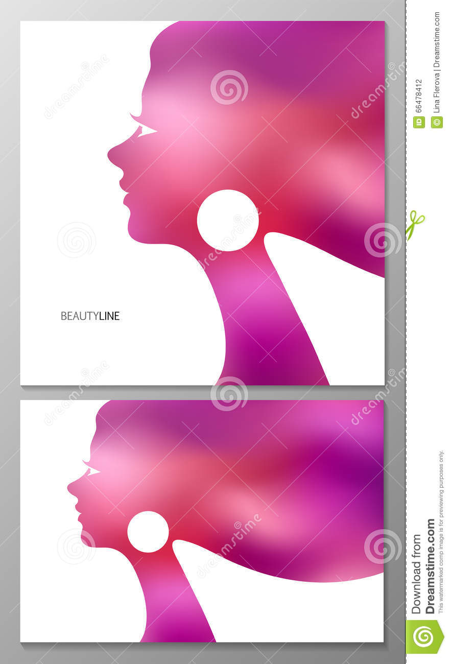 Abstract vector background female profile for greeting for Abstract beauty salon