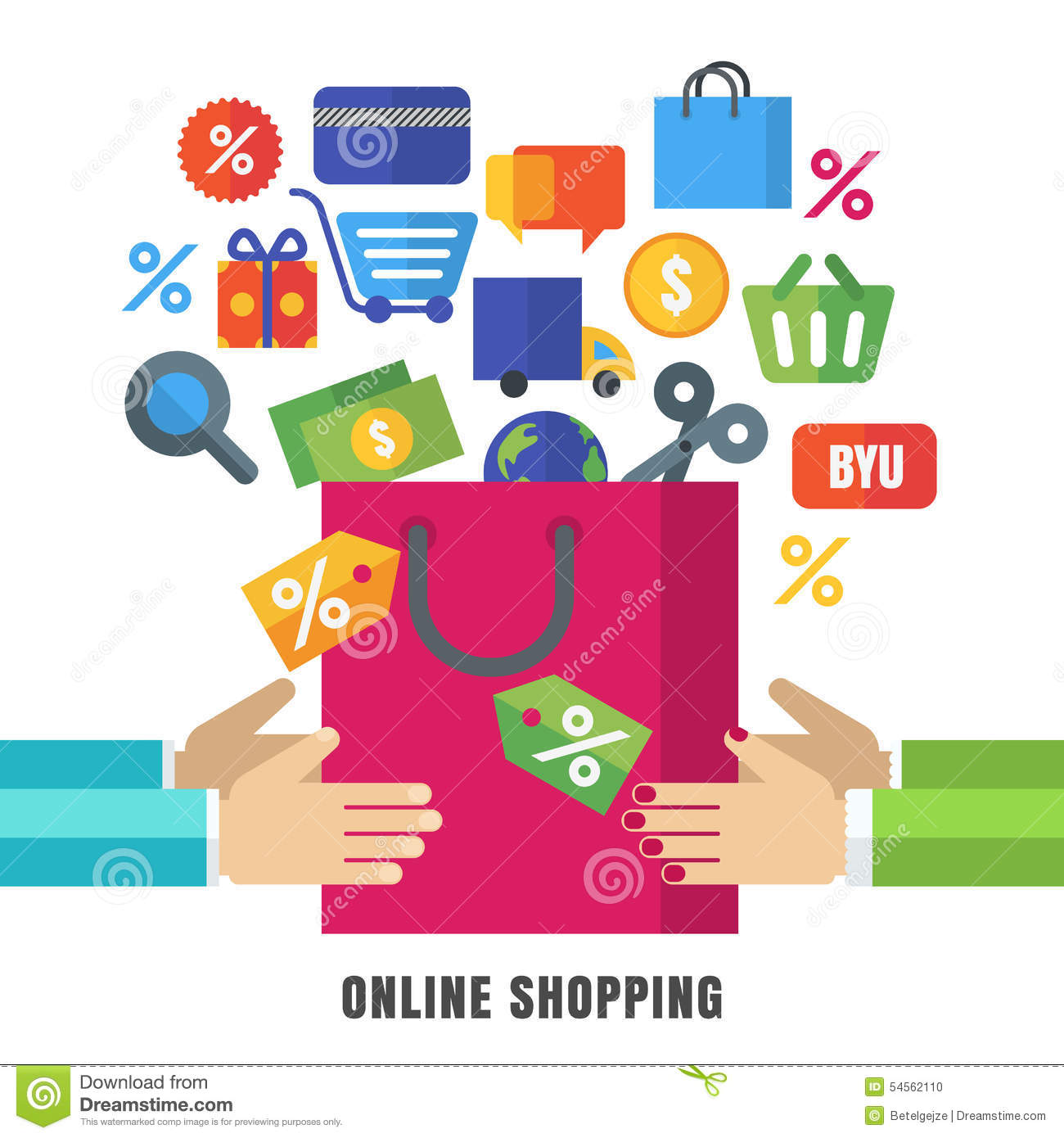 Abstract vector background hands with shopping bag and for Make a blueprint free online