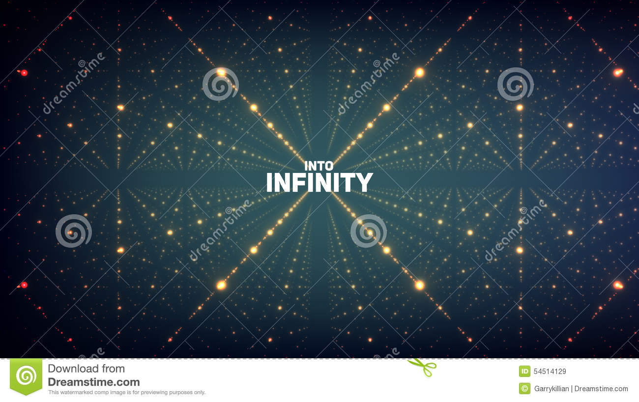 Abstract Vector Background Matrix Of Glowing Stars With Illusion Depth And Perspective Futuristic Space