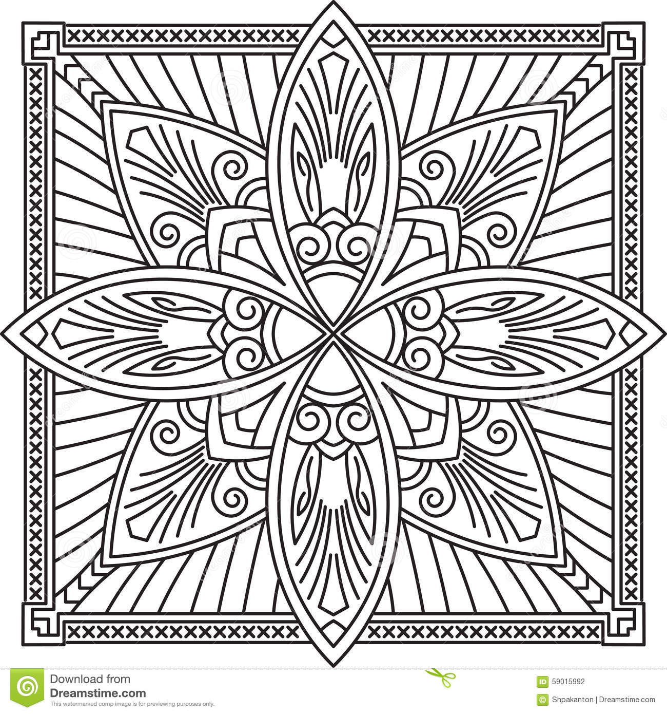 Abstract Vector Black Square Lace Design In Mono Line