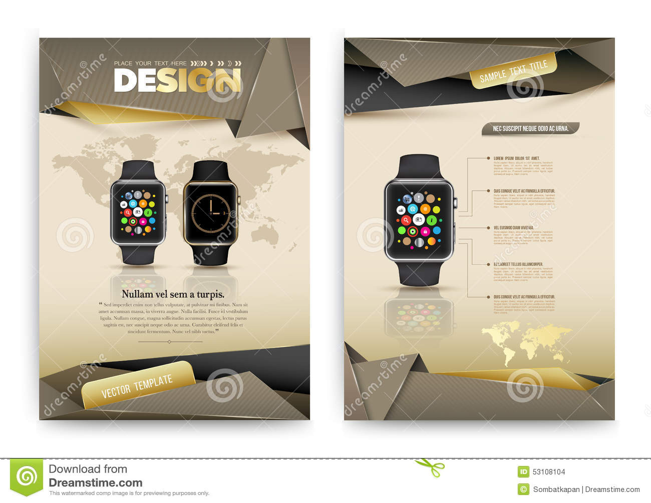 Watch Brochure Flyers Template Set Cartoon Vector