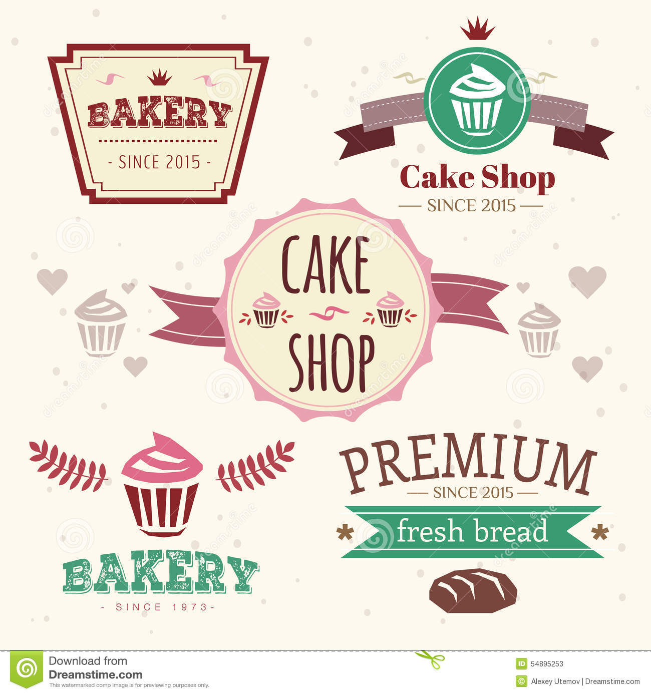Abstract Vector Cake Vintage Logo Elements Set Stock ...