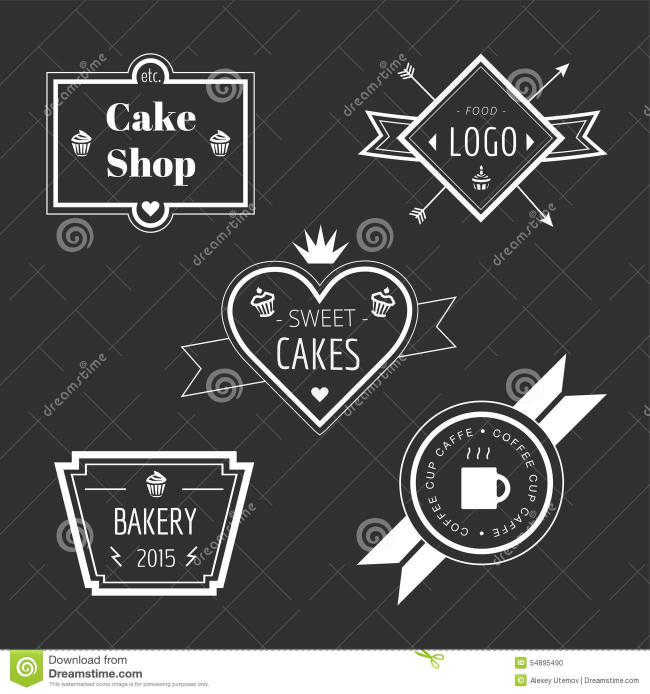 Vintage Cake Logo Design : Abstract Vector Cake Vintage Logo Elements Set Stock ...