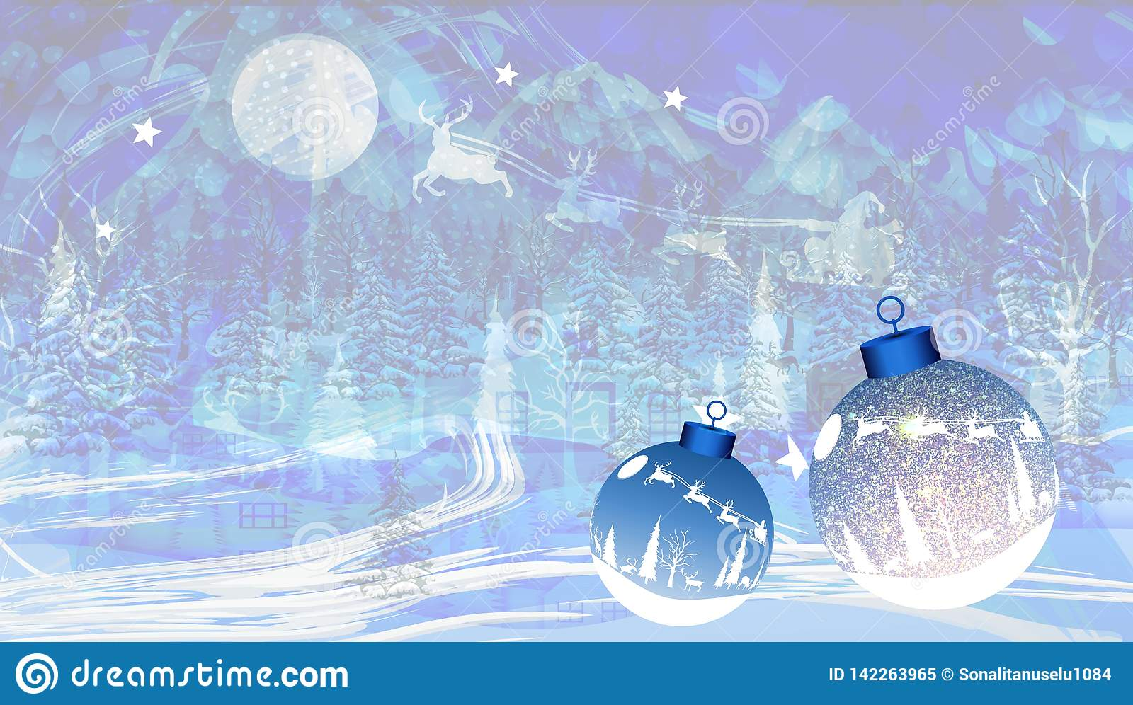 Abstract vector Christmas textured background with snow, Santa and Christmas balls. vector illustration.