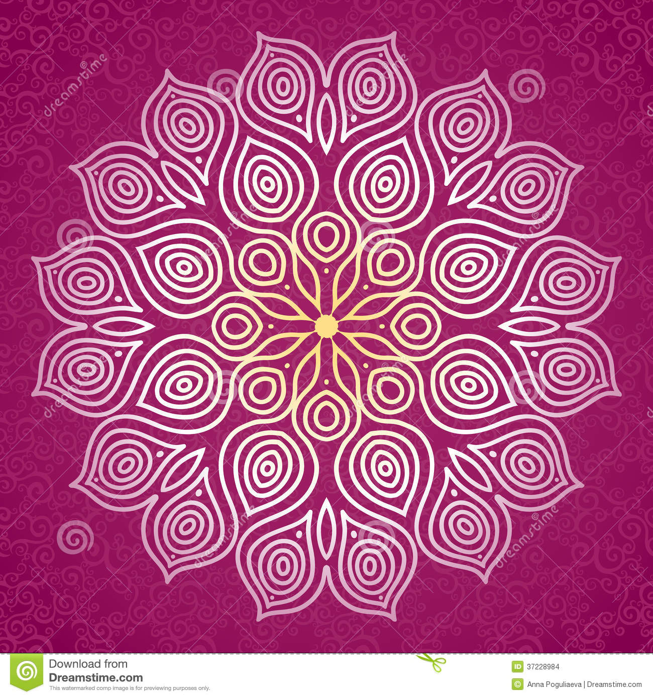 Abstract Vector Circle Ornament. Lace Pattern Design ...