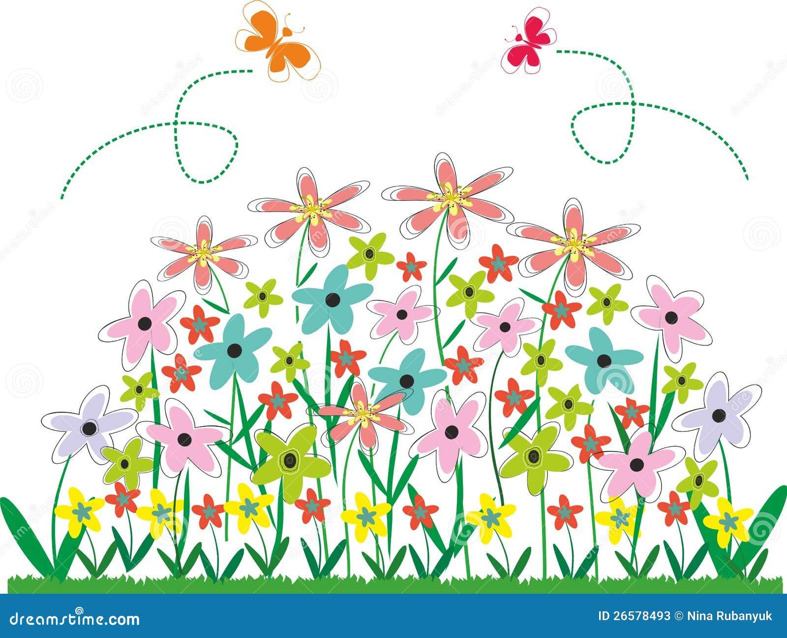 Flower garden cartoon - Bed Flower