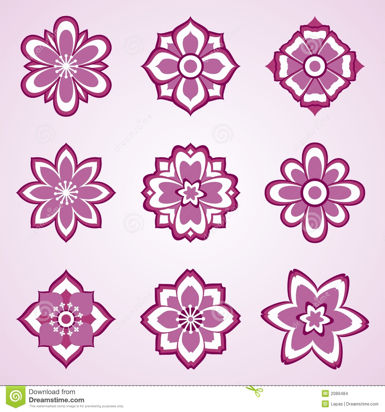 Abstract Vector Flower Set Stock Images - Image: 2089484