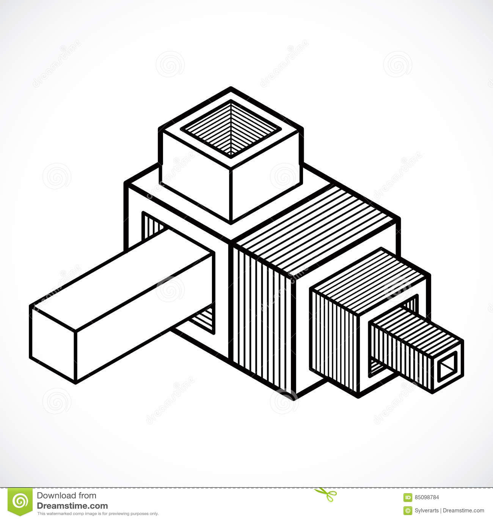 abstract vector geometric form, 3d shape. stock vector