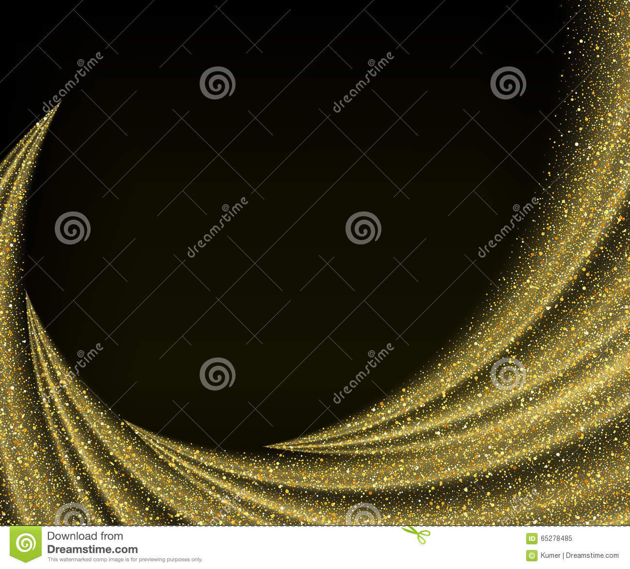 Abstract vector gold dust glitter star wave