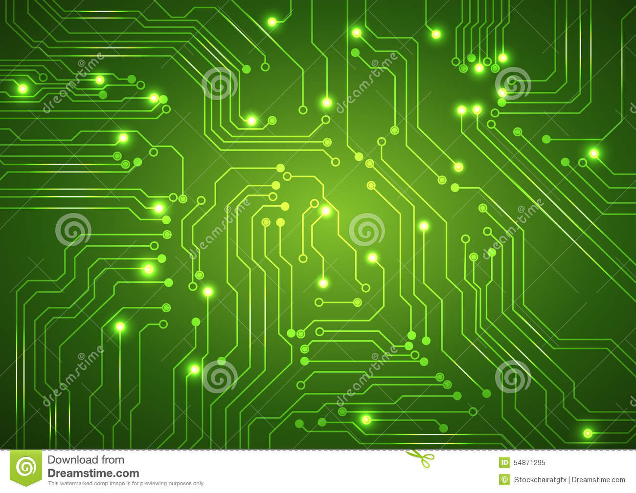 abstract vector green background with high tech circuit