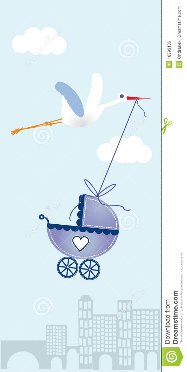 Abstract vector greeting card whit with stork and a pram