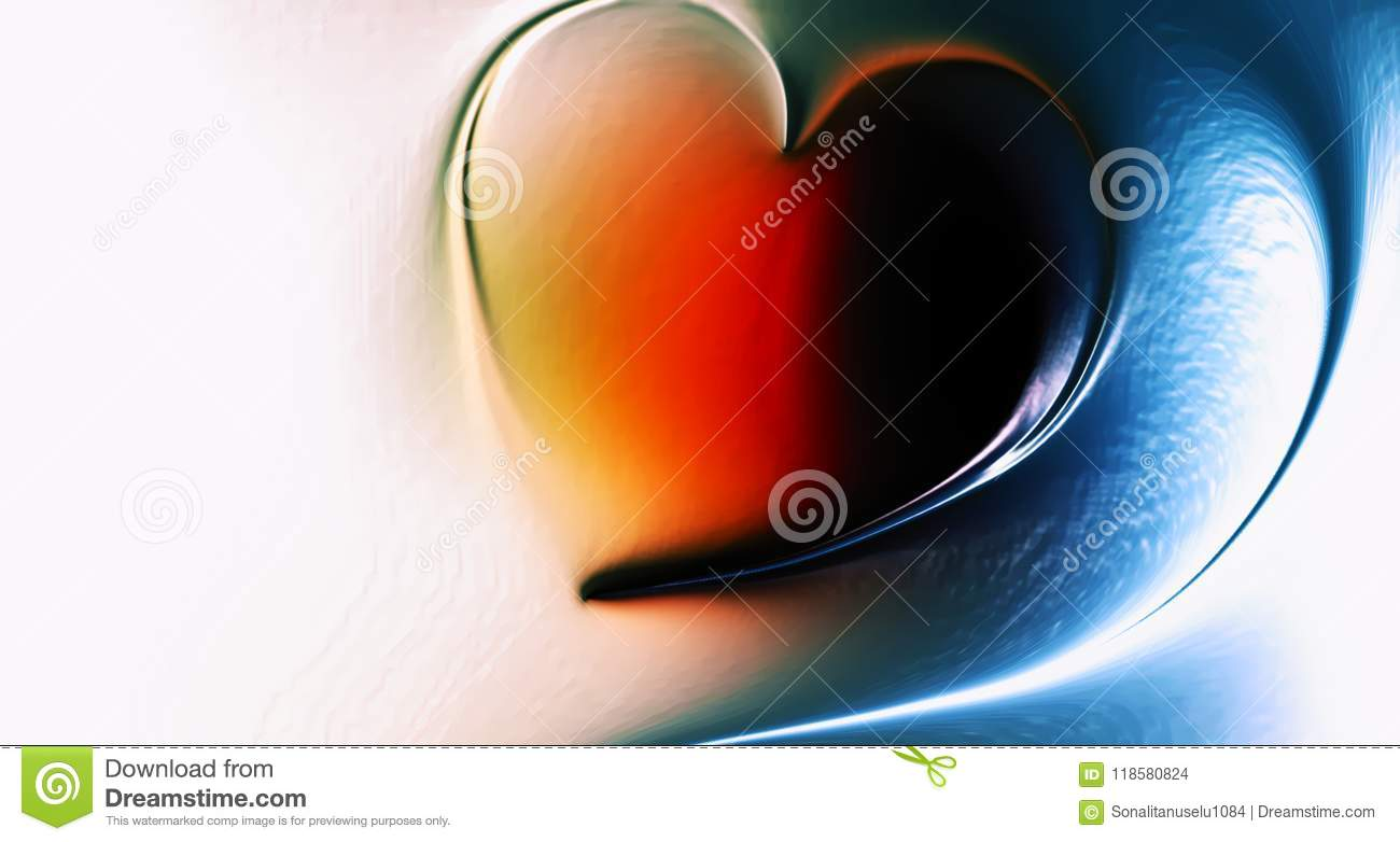 Abstract vector heart with multicolored shaded wavy background with lighting effect and texture, vector illustration,