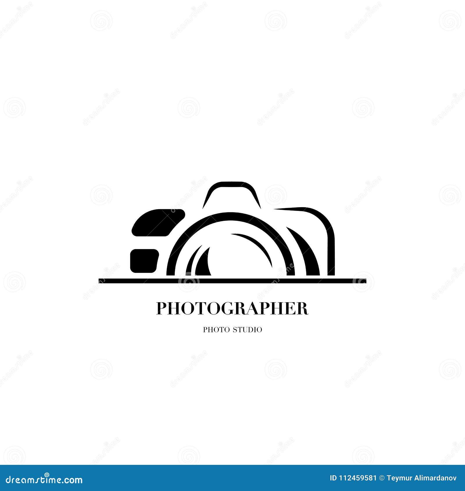 Abstract vector het ontwerpmalplaatje van het cameraembleem voor professionele pho