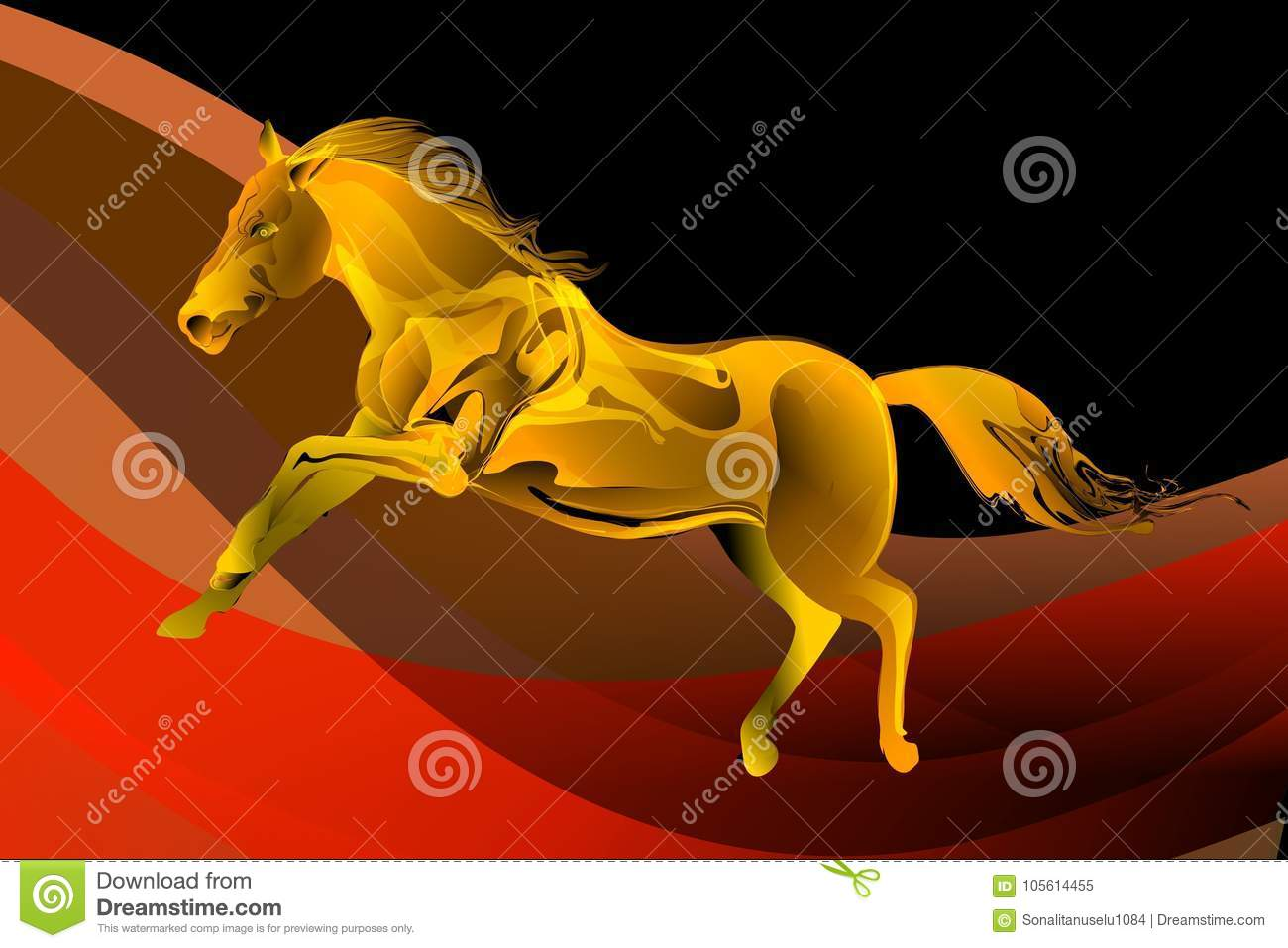 Abstract Vector Horse In A Jump On Colorful Wavy Background Illustration