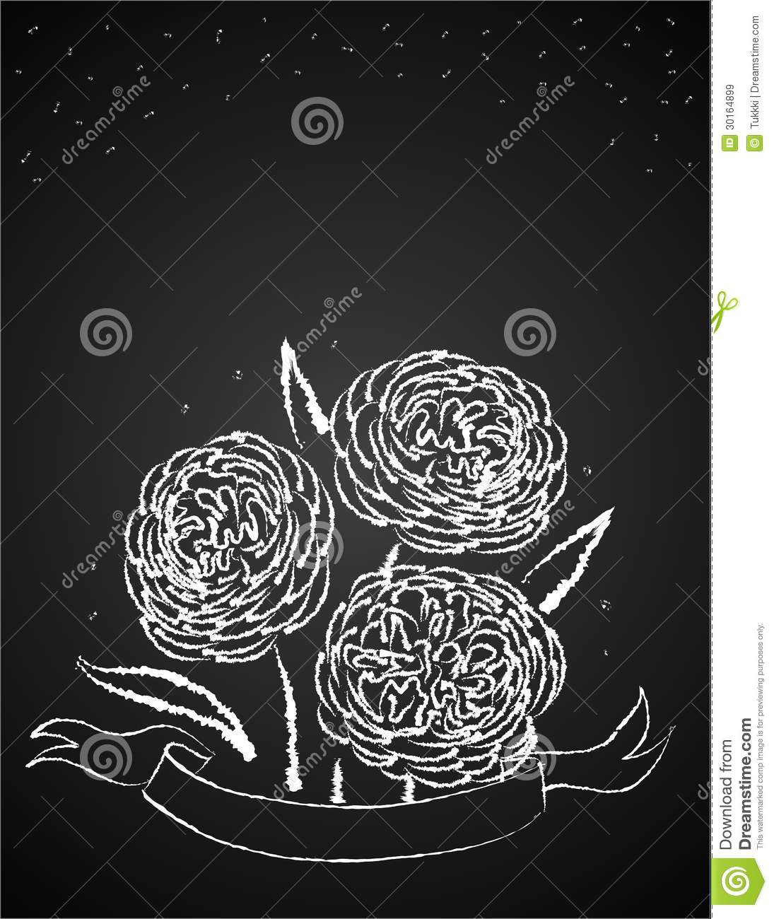 Chalk Flowers On Blackboard Stock Vector Image 30164899