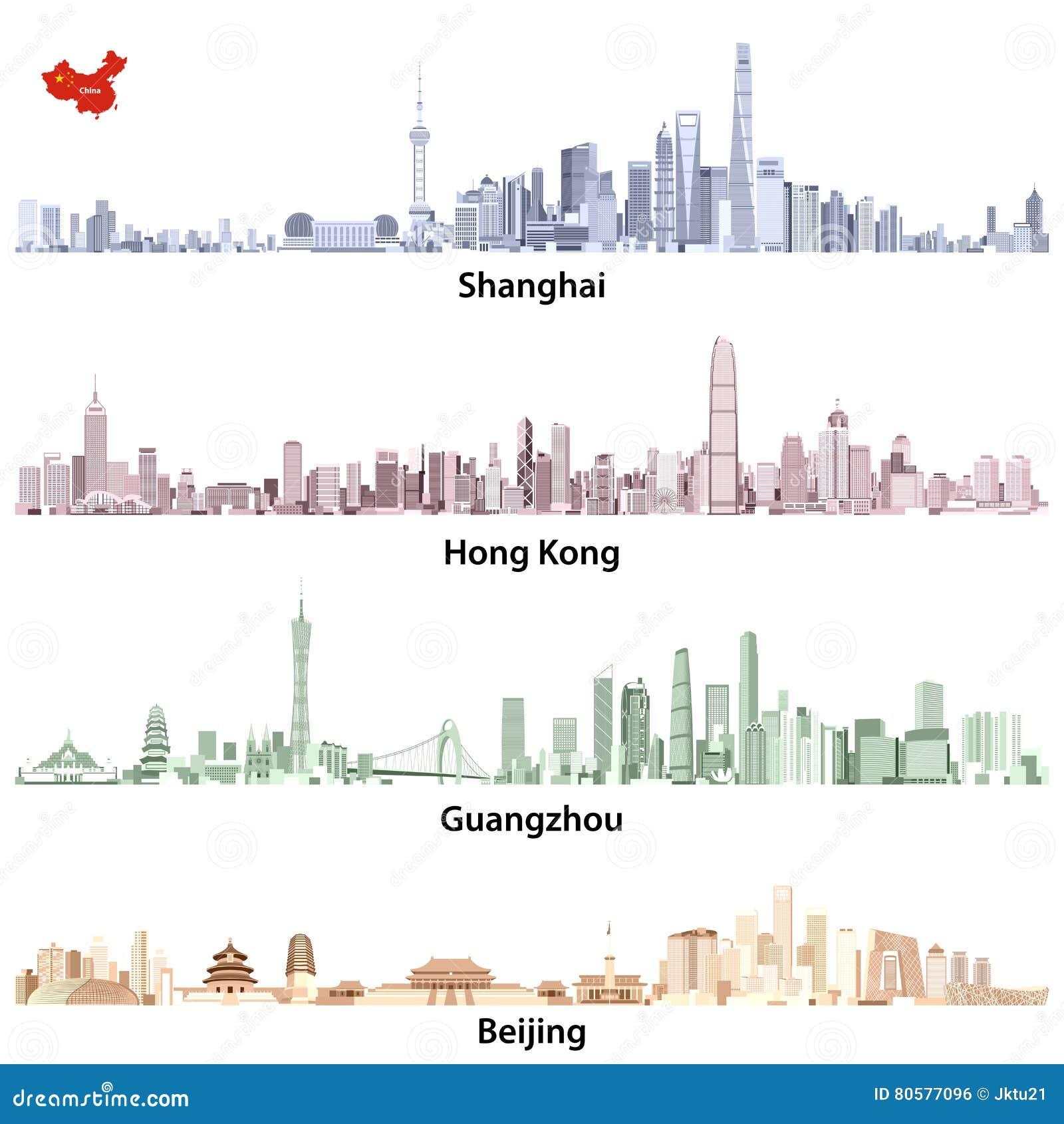 Abstract Vector Illustrations Of Shanghai, Hong Kong ...