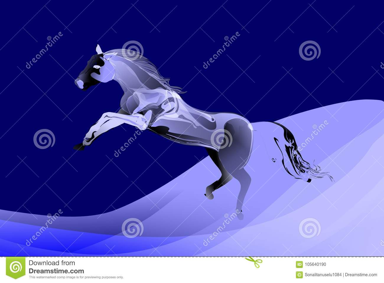 Abstract Vector Jumping Horse In Blue To White Tonal Colors With Wavy Background Stock Vector Illustration Of Concept Blurred 105640190