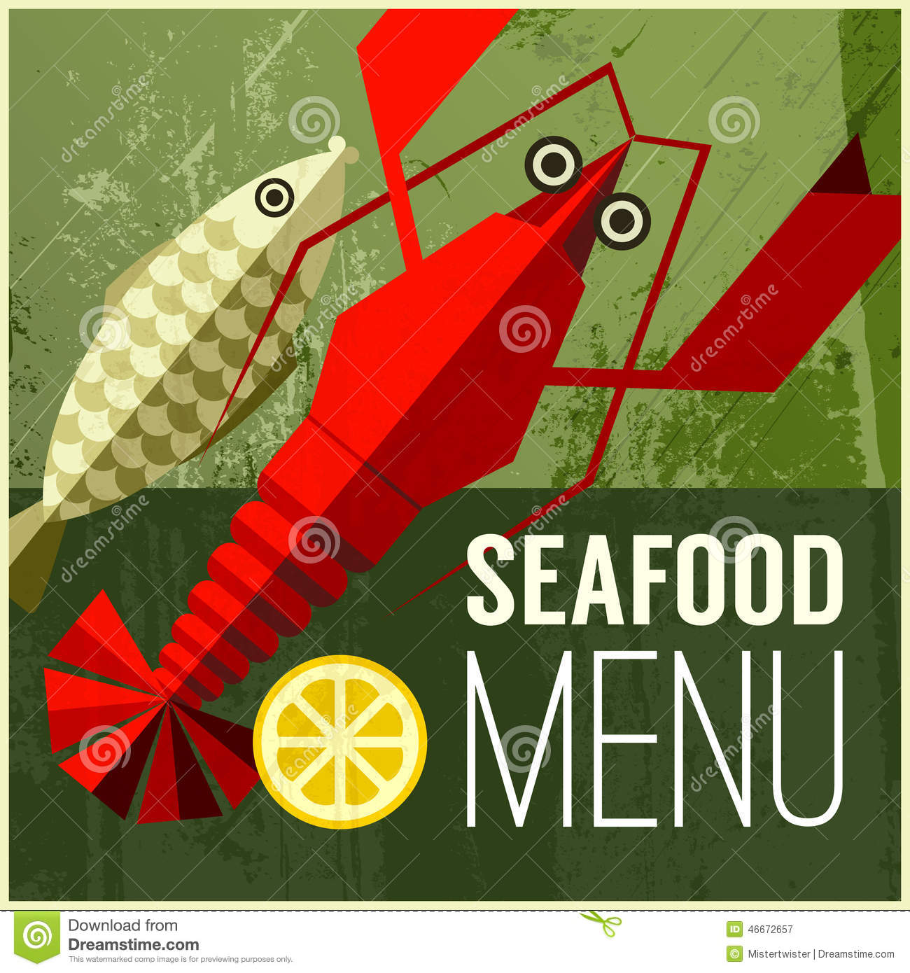 Abstract vector menu poster with fish, lemon, lobster and seafood menu ...