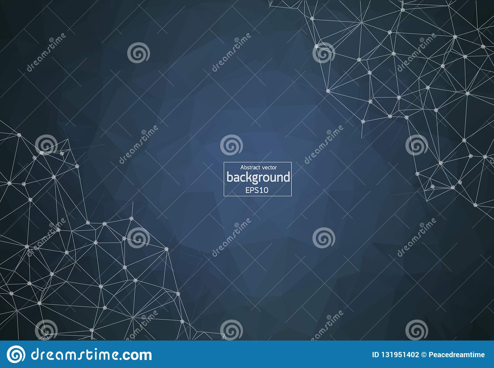 Abstract vector mesh background. Chaotically connected points and polygons flying in space. Futuristic technology style. Elegant b