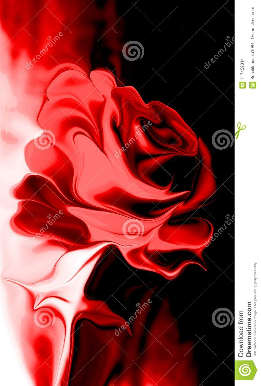 Abstract vector multicolored rose with shaded wavy background with lighting effect, vector illustration