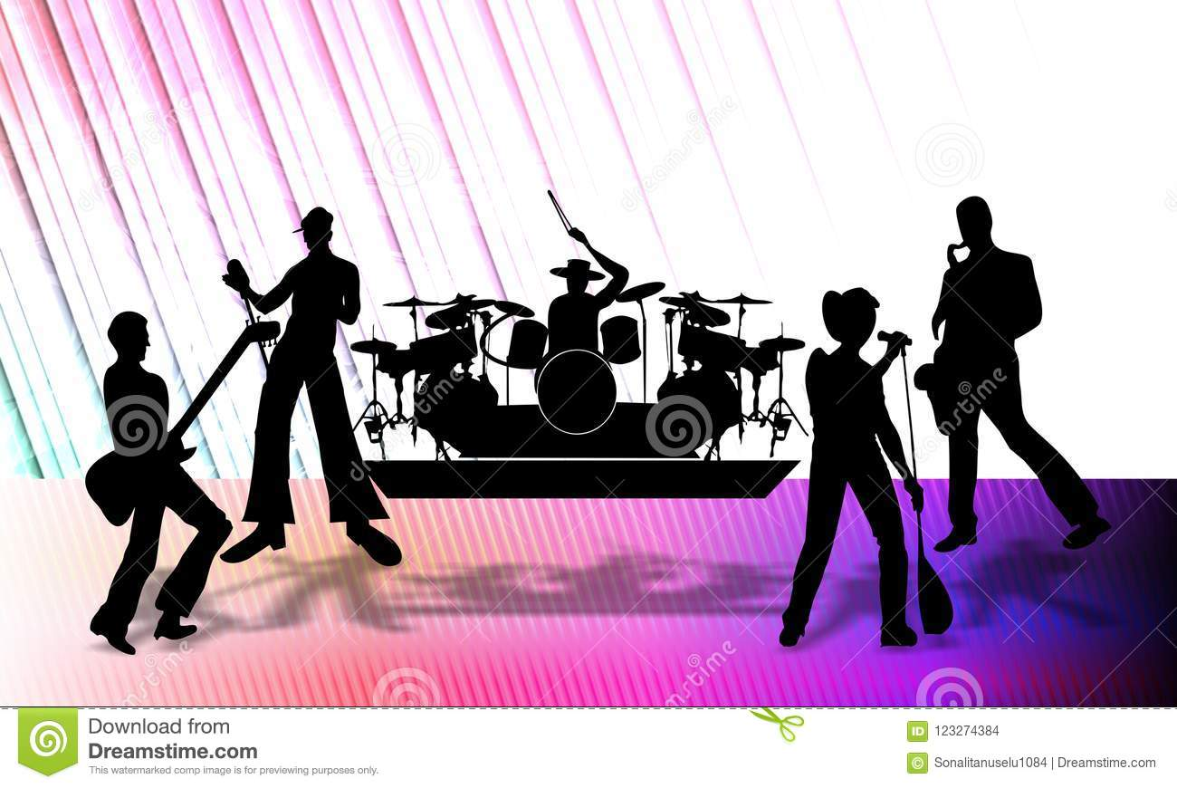 Download Abstract Vector Musical Group Presenting A Program On Stage, Vector Illustration. Stock Illustration - Illustration of fashion, abstract: 123274384