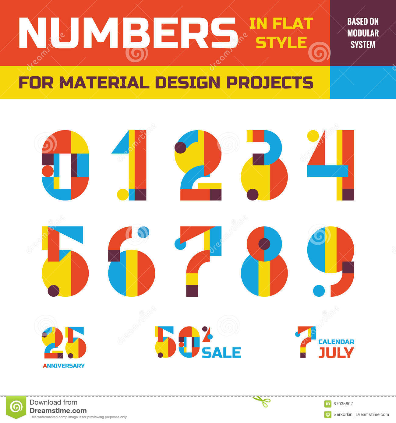 Abstract vector numbers in flat style design for material for Blueprint number