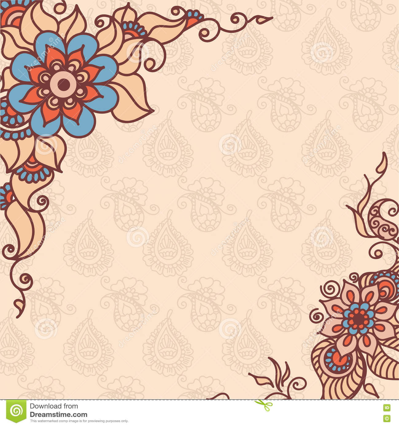 Abstract Vector Pattern Of A Tattoo Henna Stock Vector
