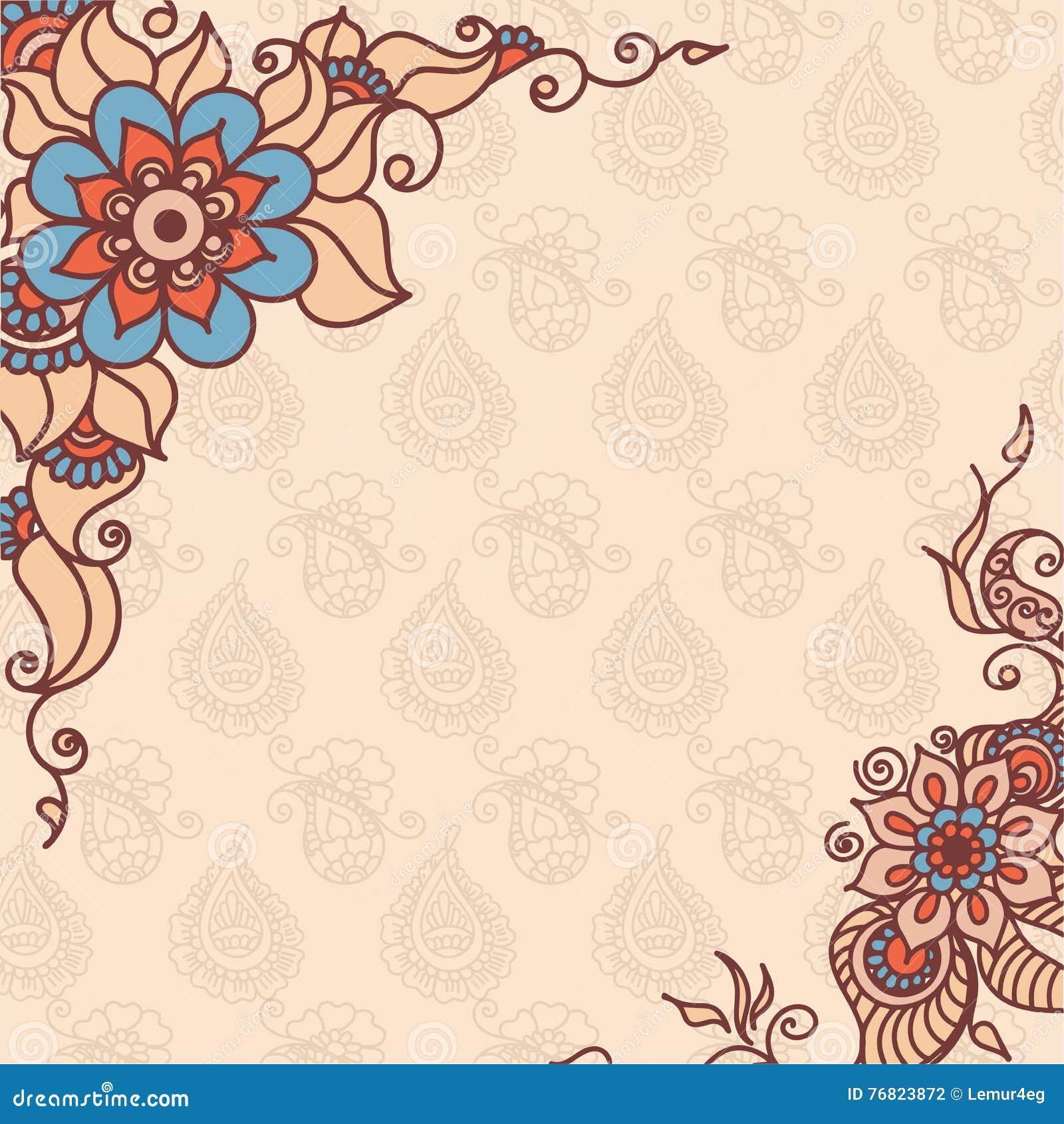 Henna Wallpaper: Abstract Vector Pattern Of A Tattoo Henna Stock Vector