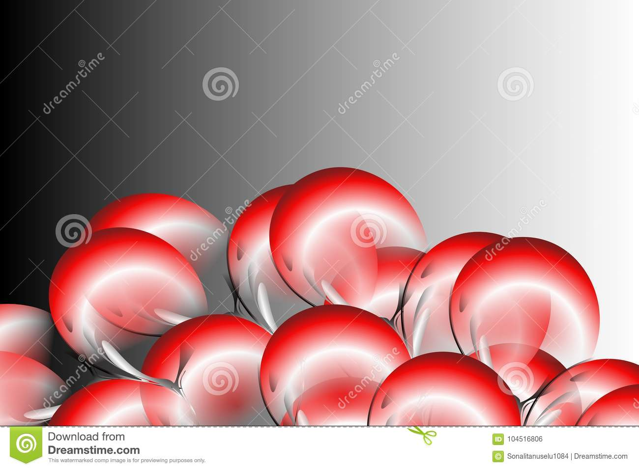 Abstract Vector Red Black And White Flowers Leaf With Black And Grey