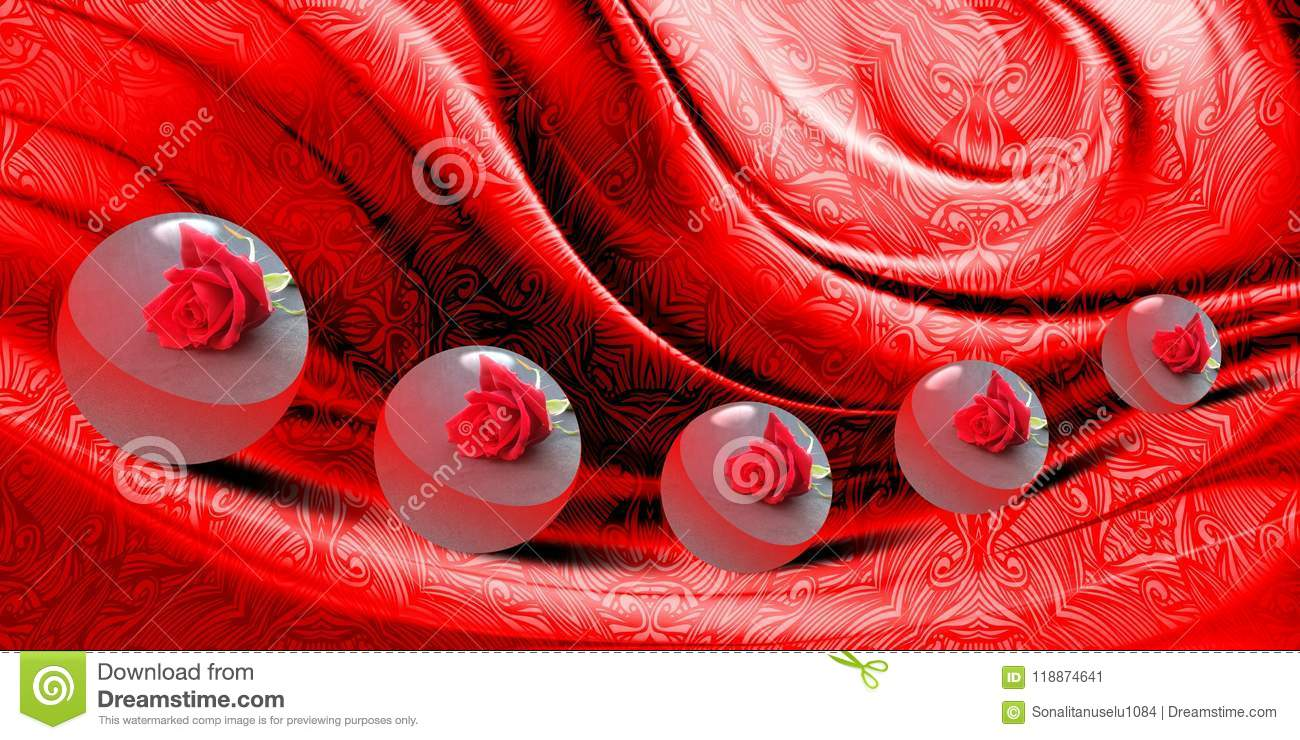Abstract vector red shaded wavy textured background with movements of 3 d boll with texture, vector illustration.