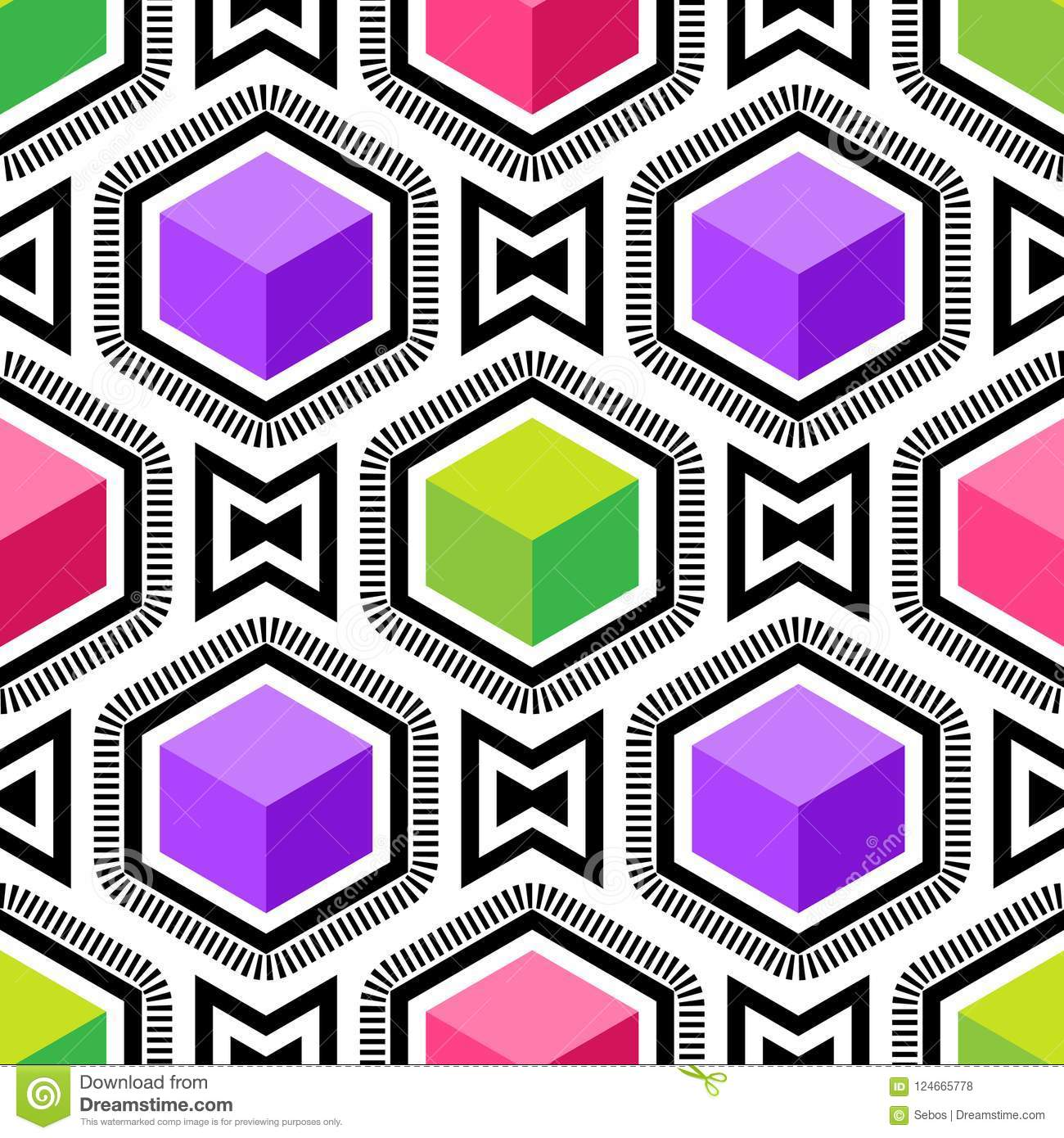 Abstract vector seamless op art pattern. Colorful pop art, graphic ornament. Optical illusion