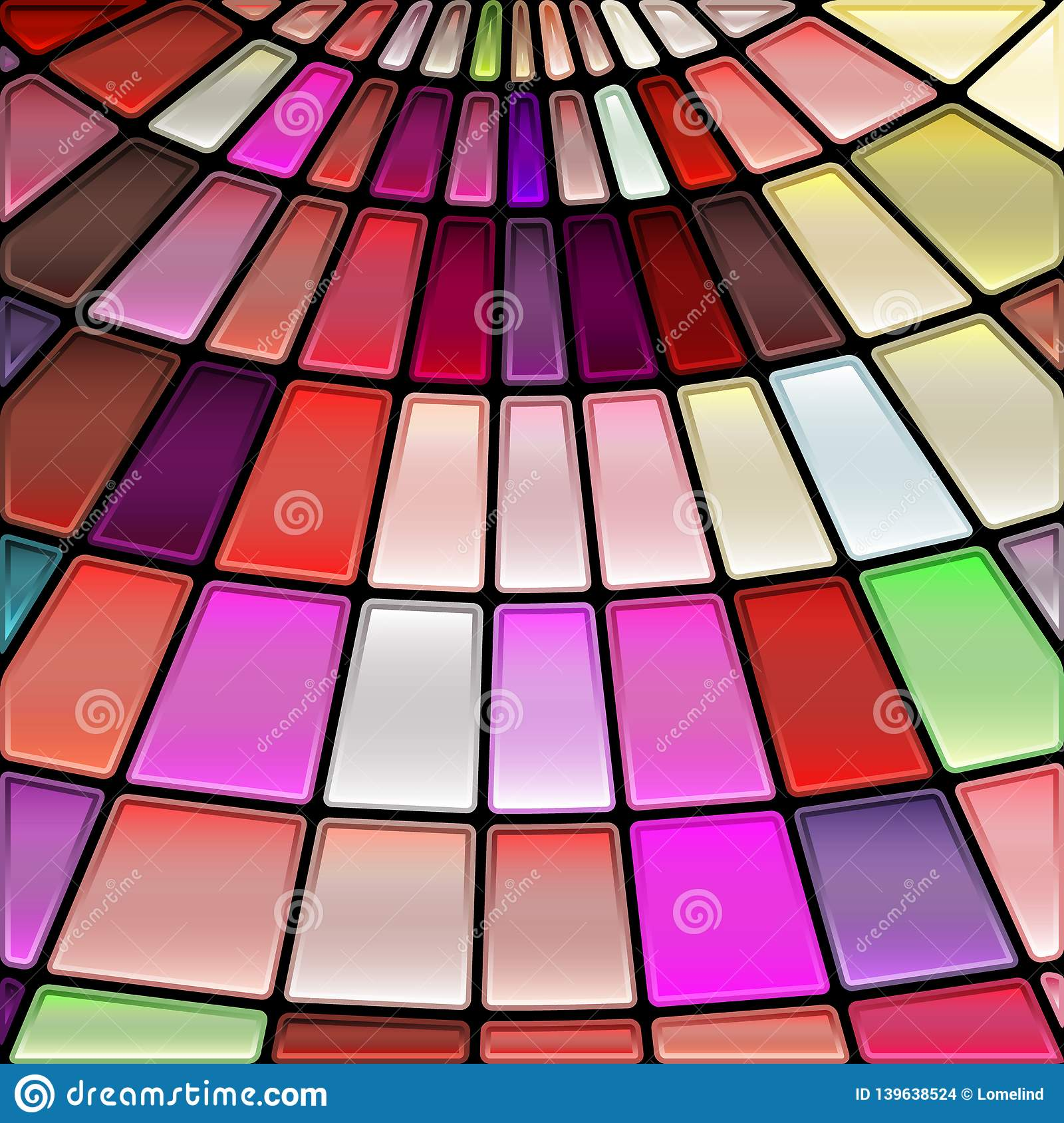 Abstract Vector Stained Glass Mosaic Background Stock