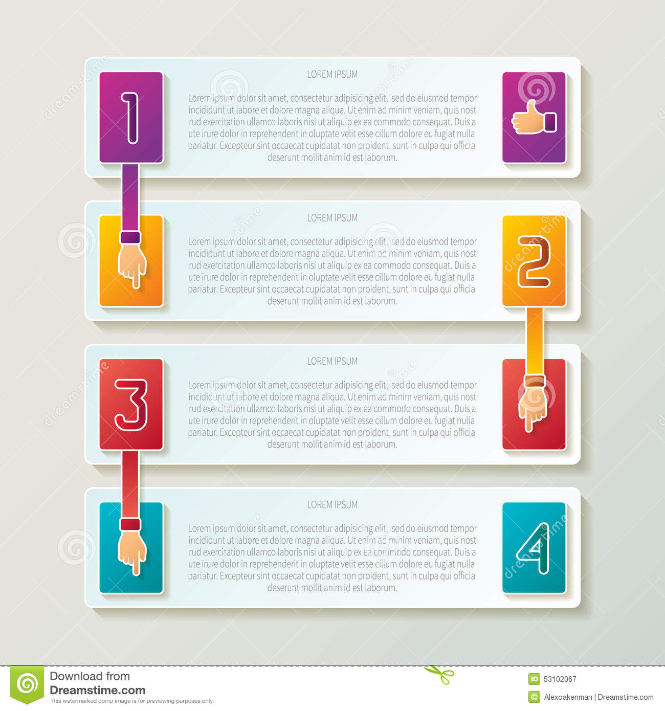 Abstract Vector 4 Steps Infographic Template In 3D Style For Layout Workflow Scheme Numbered Options