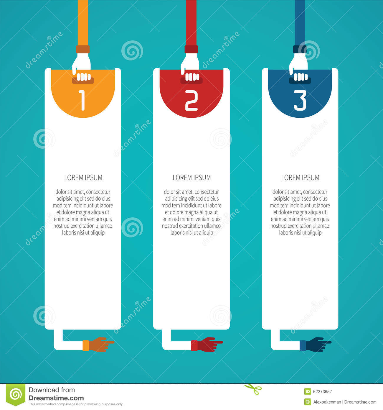 Abstract Vector 3 Steps Infographic Template In Flat Style