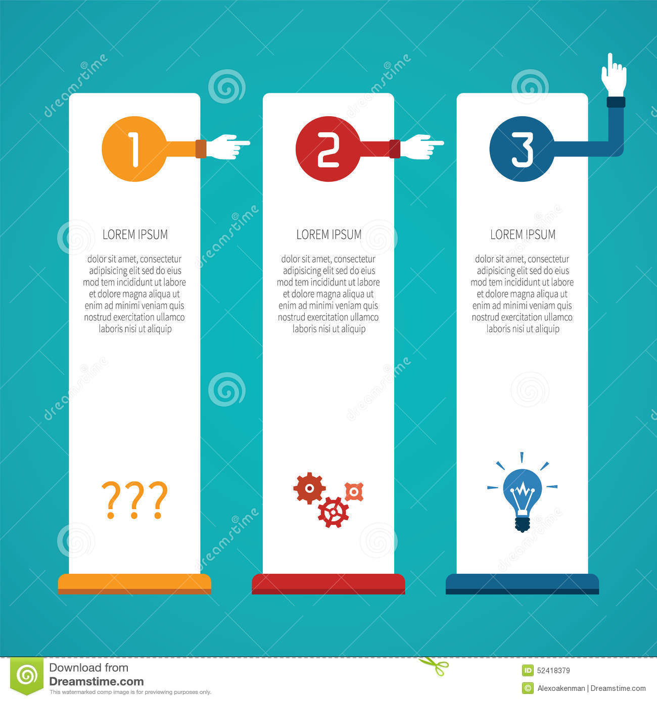 download abstract vector 3 steps infographic template in flat style for layout workflow scheme numbered