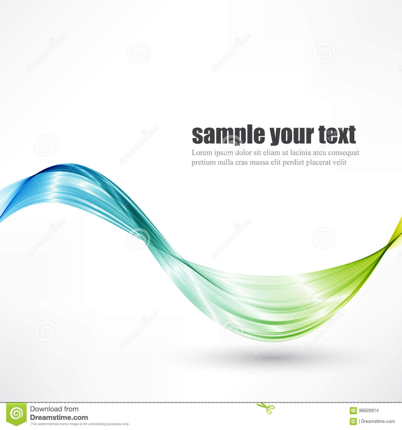 Abstract vector wave background, blue and green waved lines for design brochure, website.