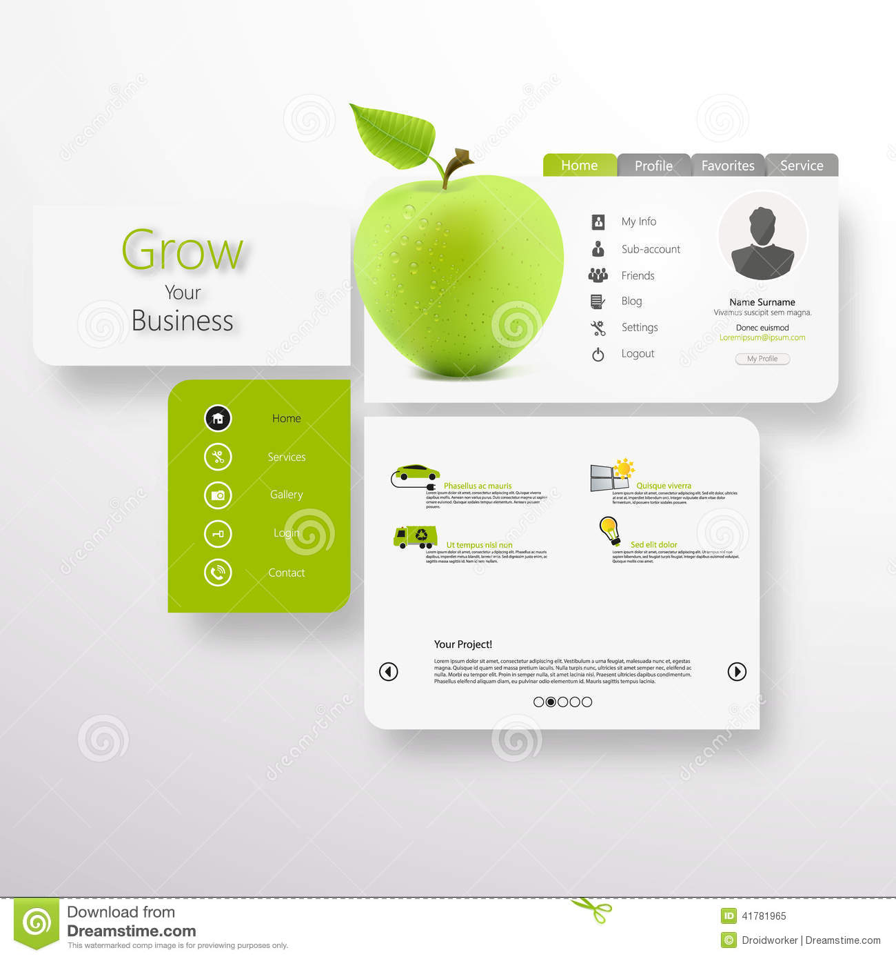 Abstract Vector White Green Website With Green Apple Stock