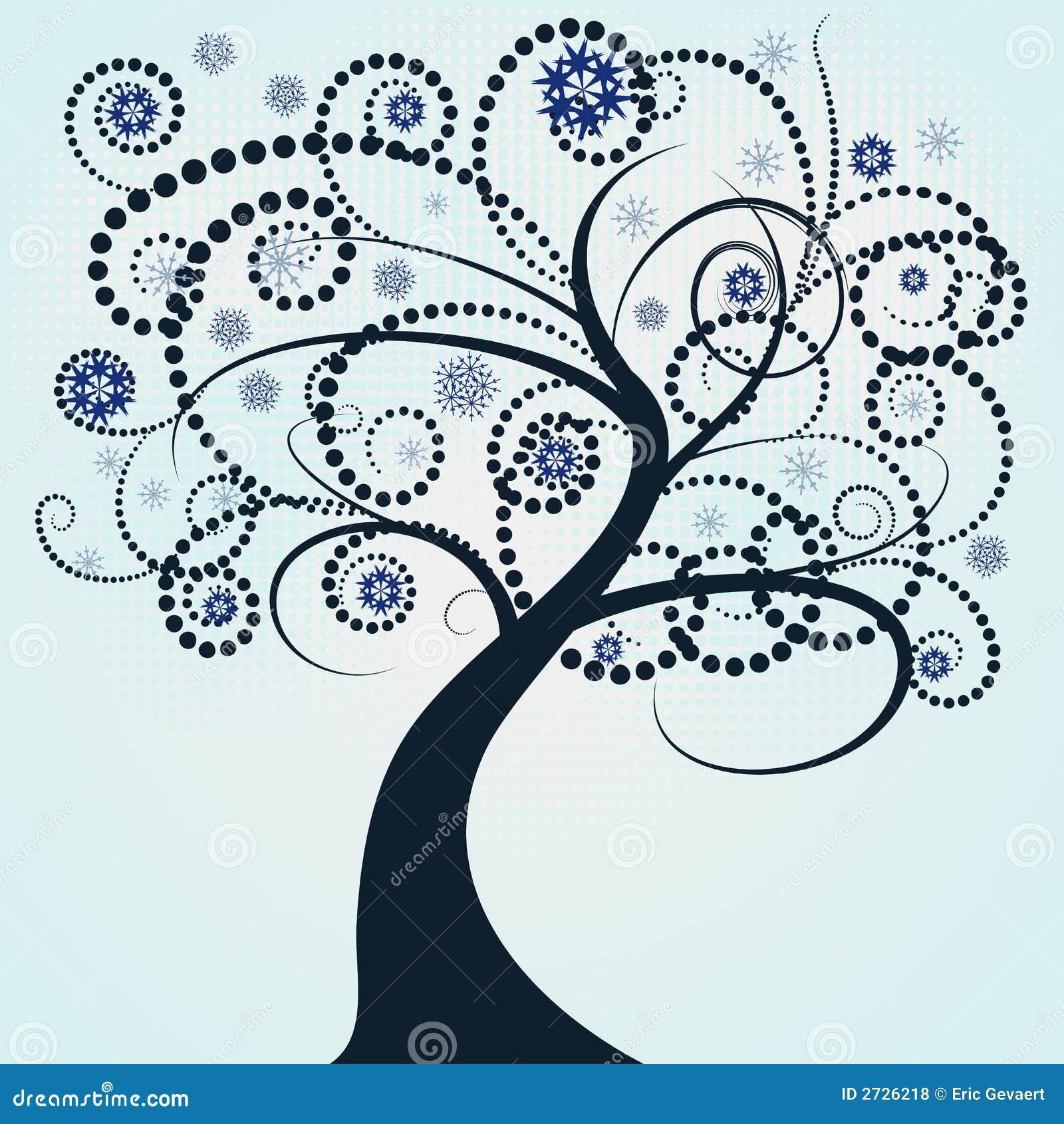 Abstract vector winter tree de