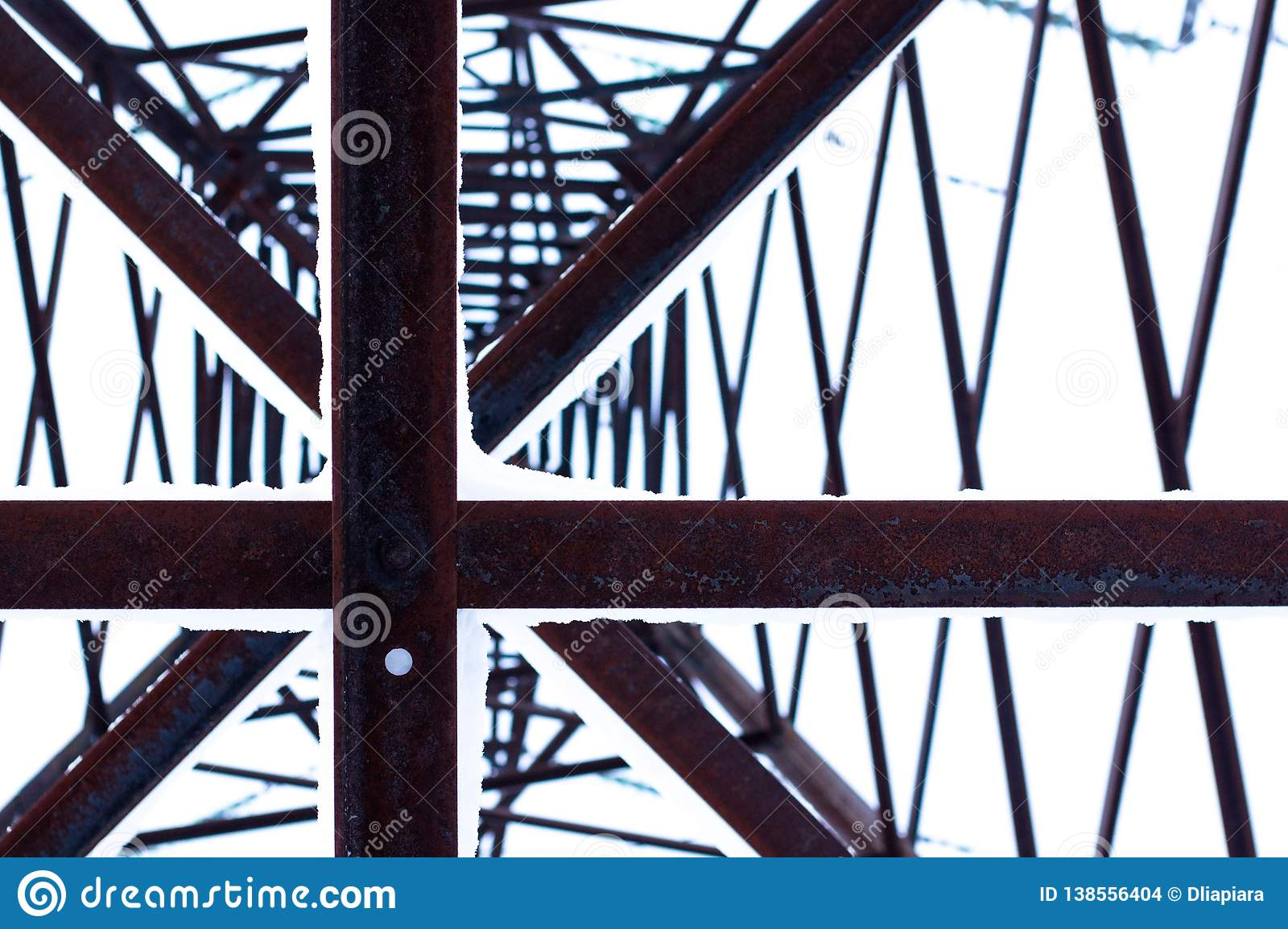 Abstract view of a huge pillar of metal conducting electricity.