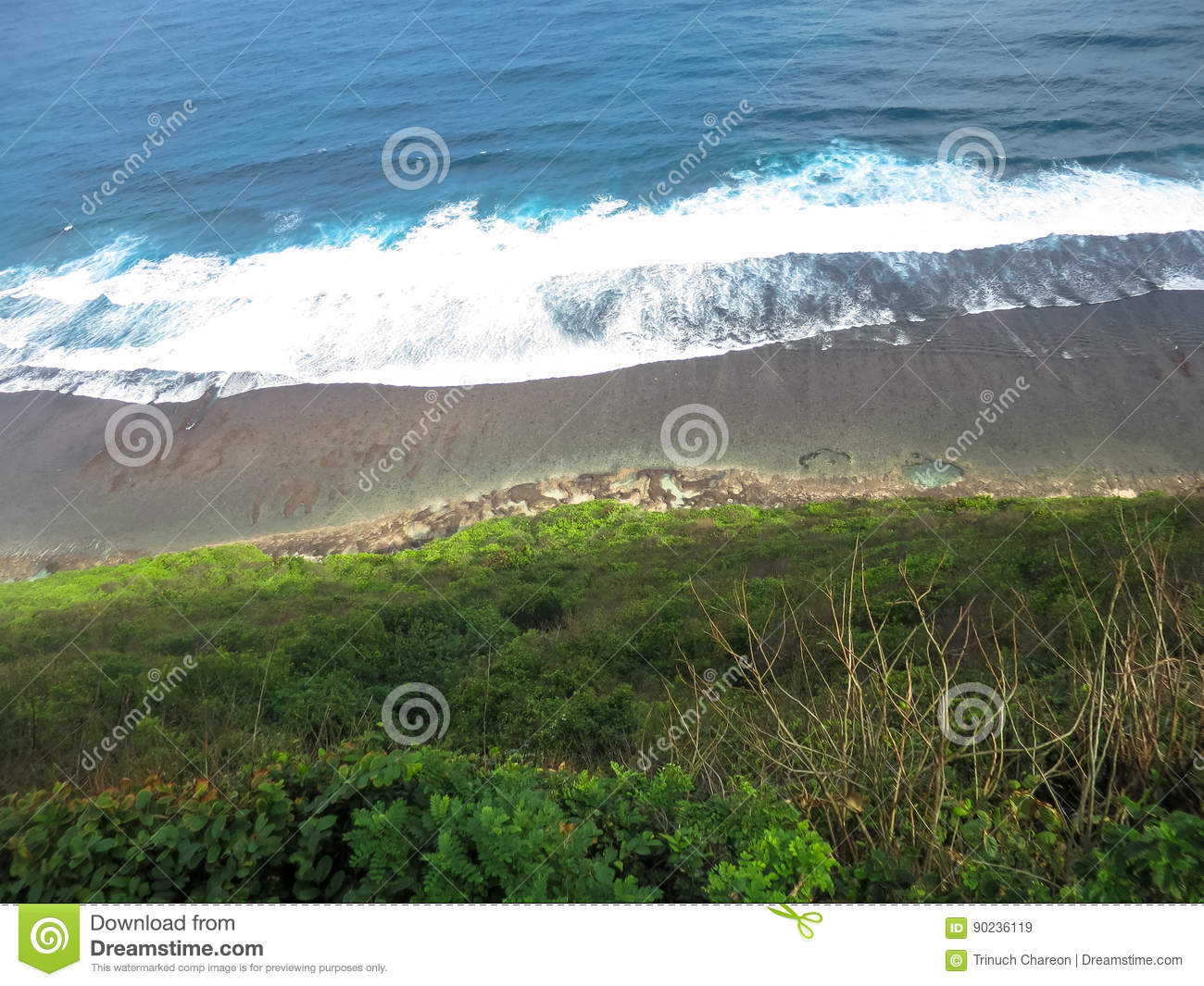 Abstract view of natural sea and beach curve lines over limestone