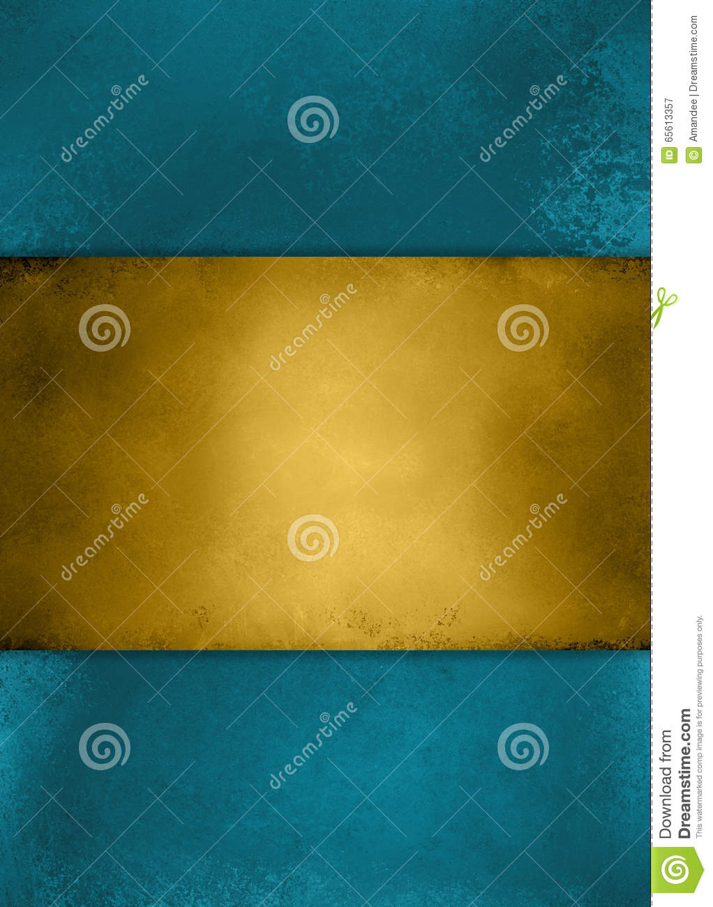Abstract vintage blue background and gold striped center