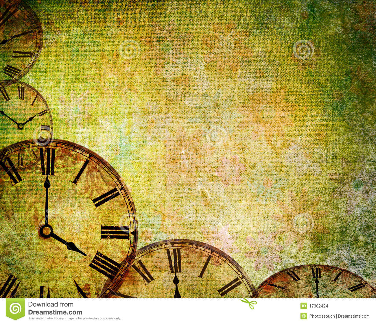 Abstract Vintage Clock Background Stock Illustration