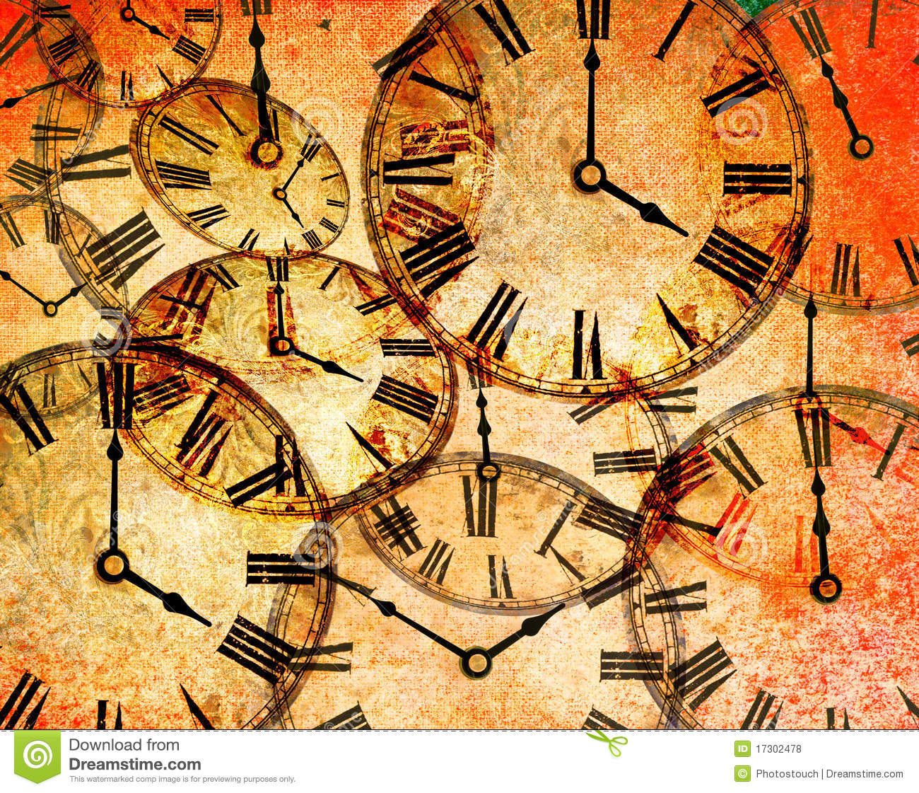 Abstract Vintage Clock Background Royalty Free Stock