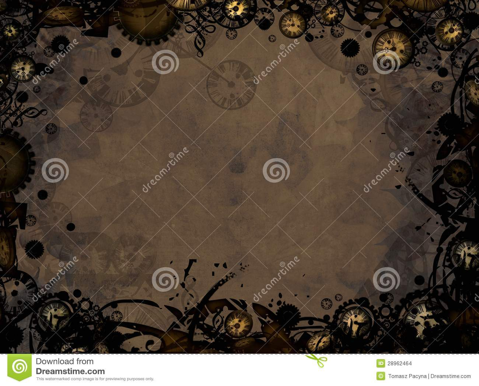Abstract Vintage Clocks Steampunk Dark Background Stock ...