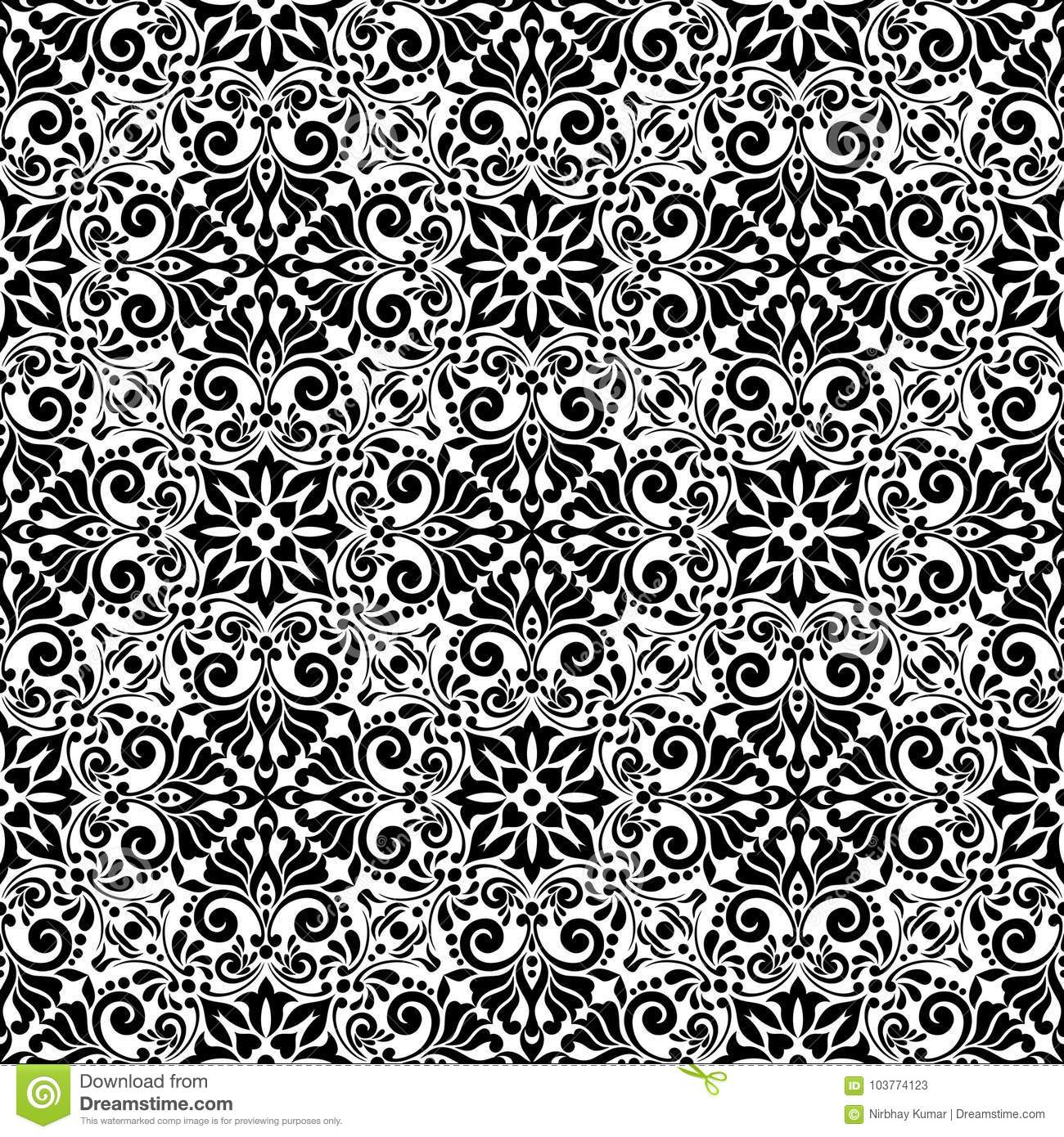 Vintage Flowers Pattern Black And White Seamless Background Stock