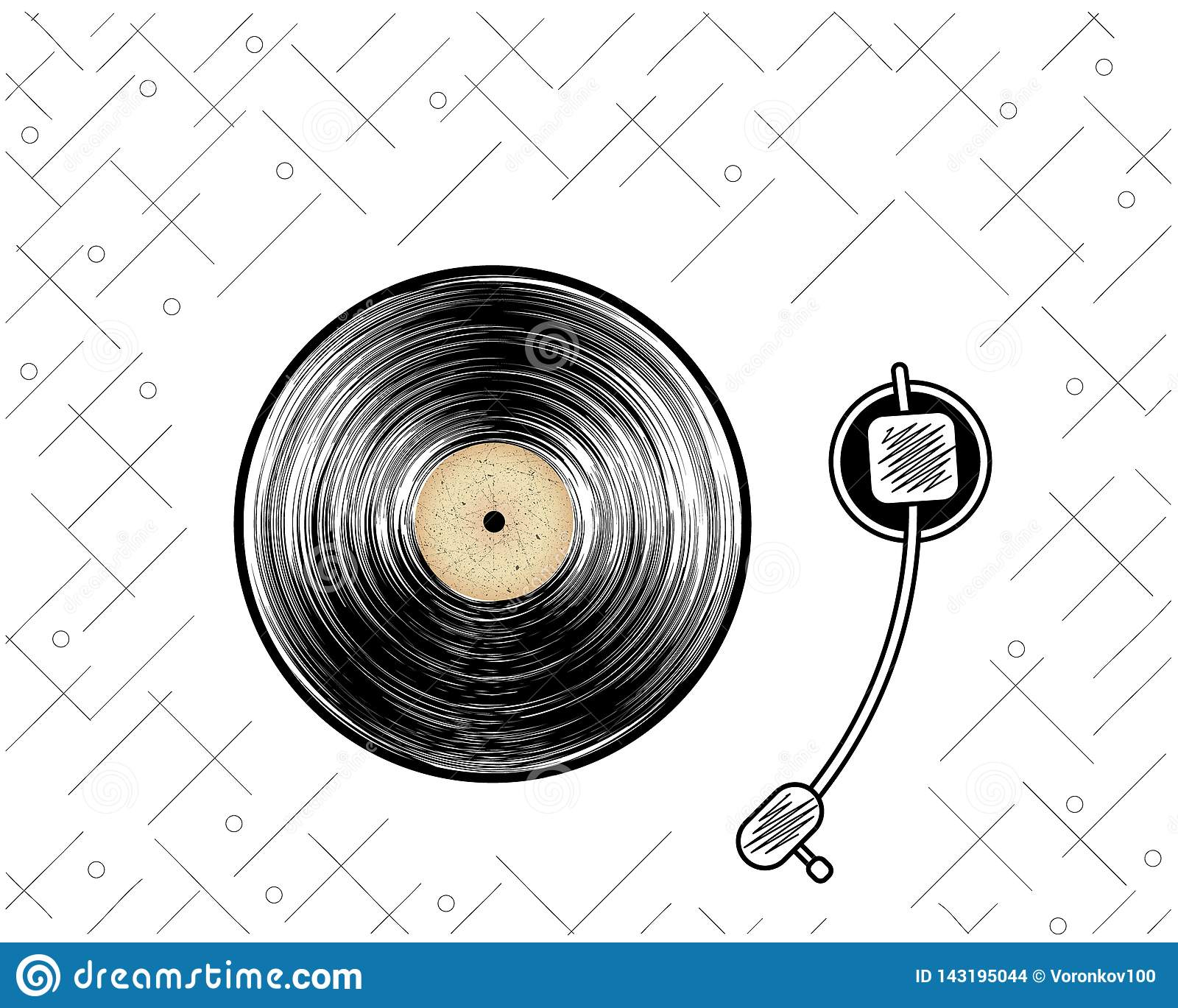 Abstract vinyl record. Retro player. Poster. Vintage style. Vector illustration