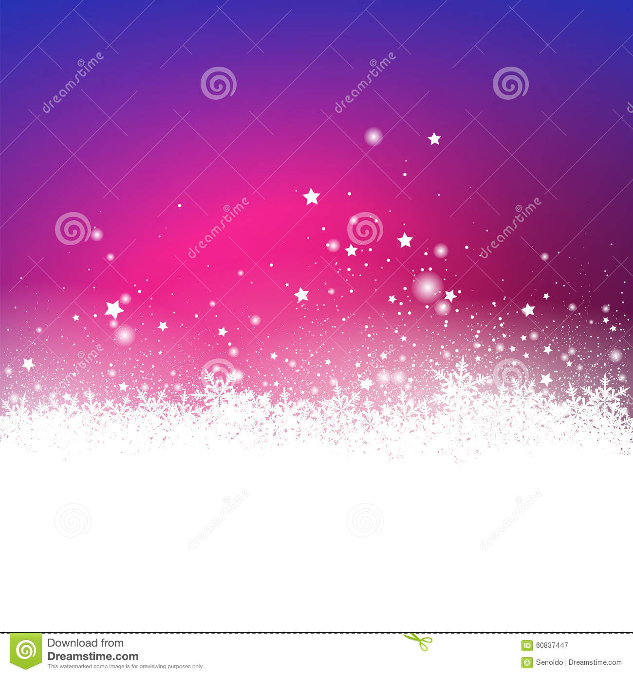 Abstract Violet Snow Particle and Stars Effect Holiday Season Gr