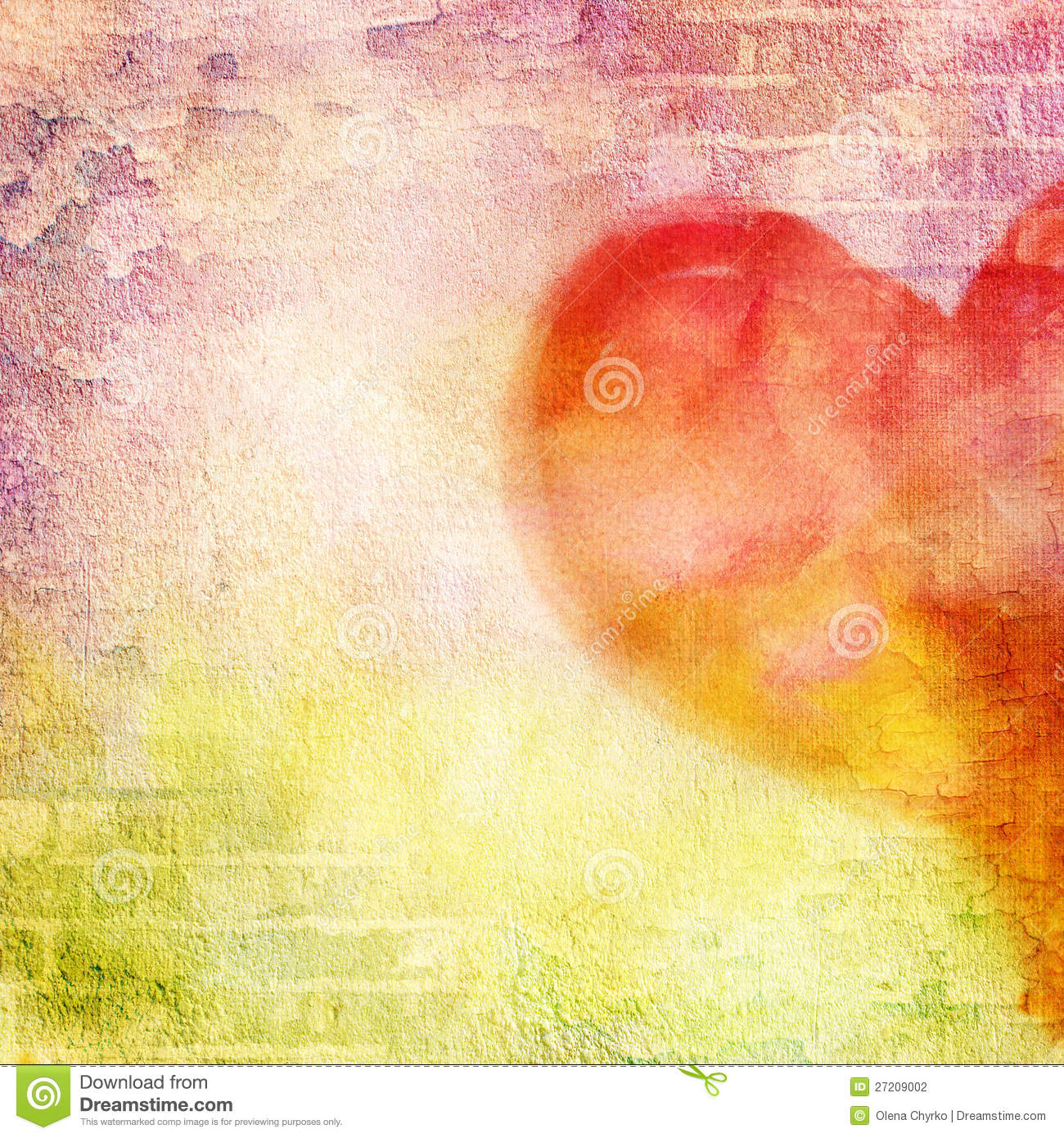 Abstract Wall Brick Cracked Paint And Heart Stock Photo Image