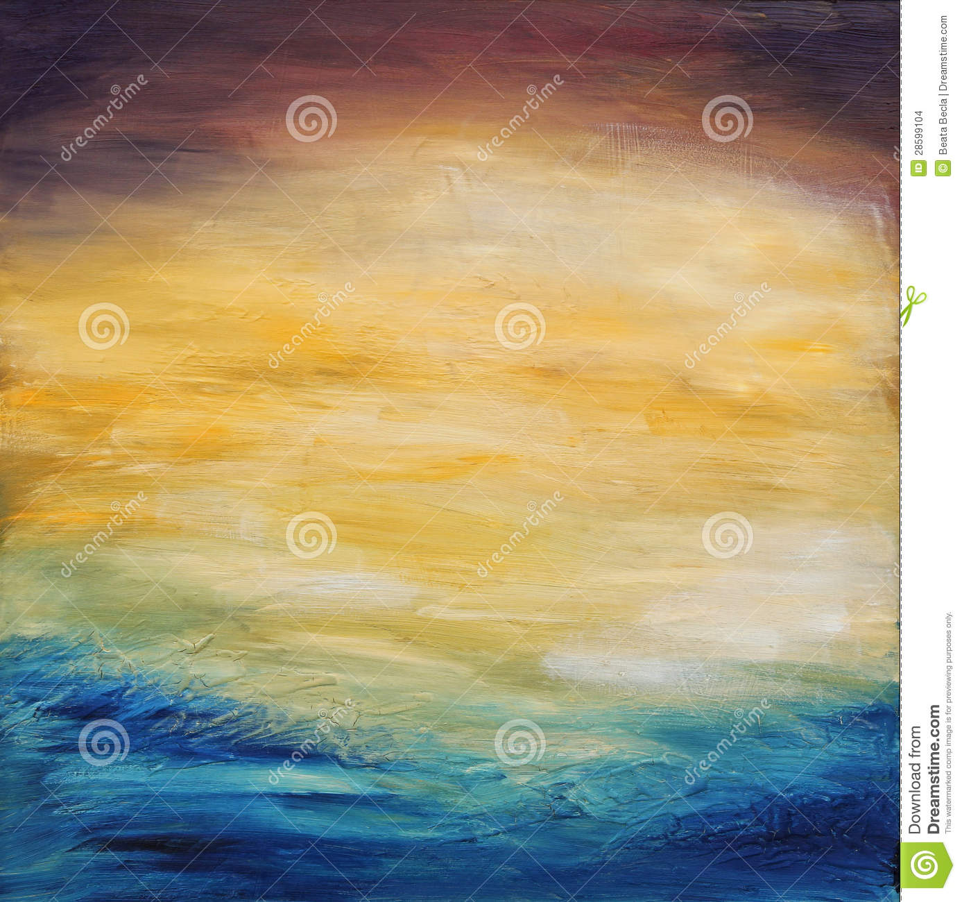 Abstract water sunset. Oil painting on canvas.